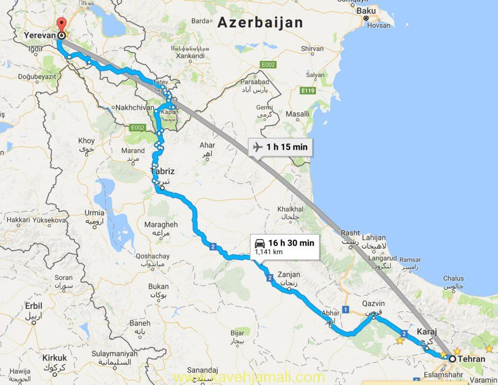 سفرنامه و نقشه سفر زمینی تهران به ایروان